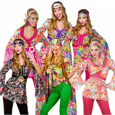 Hippie Costumes Halloween 60s 70s Groovy Lady Hippy Flower Power Womens Ladies Fancy
