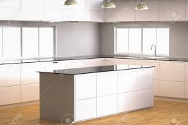 Kitchen Cabinet 3d 3d Rendering Empty Kitchen Cabinet With Kitchen Counter Stock