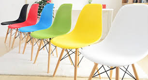 Plastic Wood Chairs Set Of 4 Eames Style Dsw Molded White Plastic Dining Shell Chair