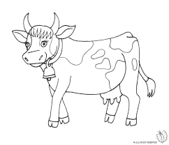 print cow with bell for coloring