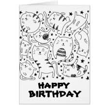 Doodle Birthday Card Happy Birthday Party Cats Cards Invitations Zazzle Com Au