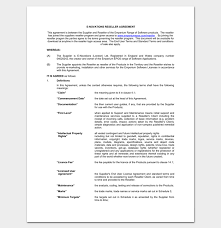 reseller contract template reseller agreement template 6 sles exles formats