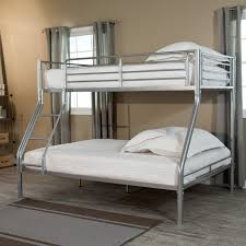 silver stainless steel bunk bed with ladder and white bedding bed