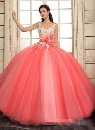 coral quince dress cheap 2015 coral quinceanera dresses straps v neck floral