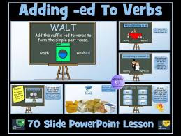 adding ed d ied to verbs to form simple past tense 70 slide