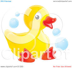 clipart illustration of a cute yellow rubber duck relaxing in a