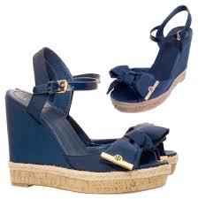 tory burch navy sandals size us 7 5 regular m b tradesy
