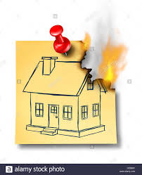 home drawing home insurance concept with a generic house drawing on a burning