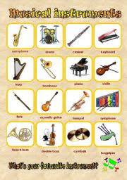 teaching worksheets musical instruments