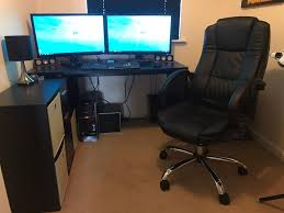 computer desks for gamers selling entire gaming rig with duel monitors chair desk keyboard