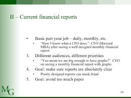 cfo report template presenting financial statements