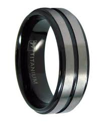 titanium wedding band men s black titanium wedding ring with two satin bands 8mm