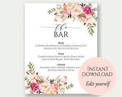 wedding bar menu template bar menu wedding etsy