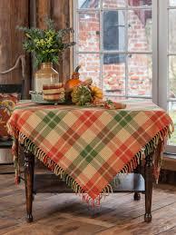 pumpkin plaid tablecloth attic sale linens kitchen attic also