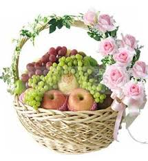 fresh fruit basket delivery 6 kg fresh fruits basket seasonal fruits with 10 stalks of pink