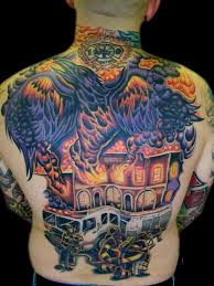 awesome firefighter tattoo on back of body photos pictures and