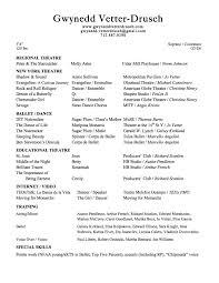 Ballet Resume Resume U2013 Gwynedd Vetter Drusch