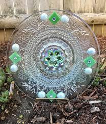 Upcycled Garden Decor Repurposed Glass Garden Flower Upcycled Garden Decor