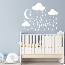 name wall decal boy clouds nursery decals moon decal stars details name wall decal