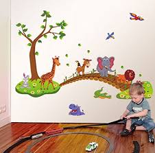 amazon com jungle animal across bridge removable cartoon wall