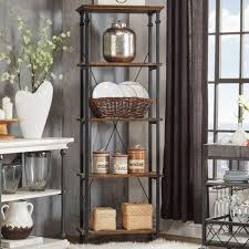 Weathered Bookcase Distressed Bookshelf Diy Traditional Wrought Iron Bakers Rack