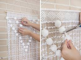 Curtains With Pom Poms Decor Pom Pom Wall Hanging Simple To Make And So Wall Decor