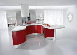 kitchen white marmer floor white storage white open shelves red