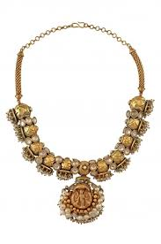 gold plated bead necklace images Amrapali silver gold plated crystal pearl cluster deity textured jpg