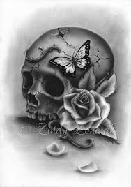 beauty and decay skull rose butterfly tattoo art print