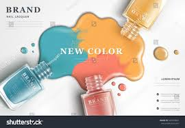 beautiful nail lacquer ads top view stock vector 522393643