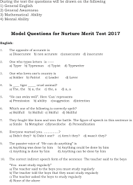 nurture merit u2013 model question paper vidya poshak