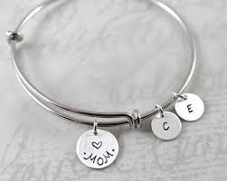 Personalized Bangle Bracelets Custom Name Charm Bracelet Mother U0027s Day Mom Gift Personalized