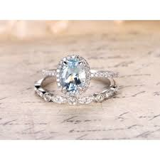 aquamarine engagement rings oval cut white gold halo ring