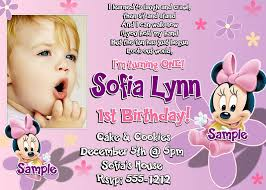 1st birthday invitation wording minnie mouse invitations