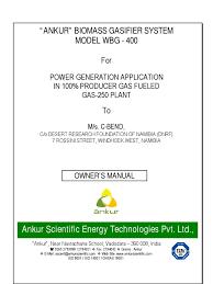 cbend ankur wbg 400 operation and maintenance manual internal