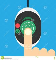 biometric fingerprint scanner on flat style stock vector image