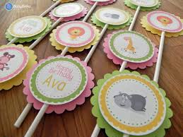 cupcake toppers pink green u0026 yellow jungle animals baby