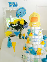 baby shower blue and yellow party idea rubber duck baby shower