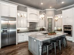 Kitchens With Different Colored Islands by Classic L Shaped Kitchen Remodel With White Cabinet And Gray