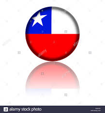Cile Flag 3d Sphere Or Badge Of Chile Flag With Reflection At Bottom Stock