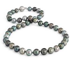 pearl necklace white images Multi color tahitian cultured pearl necklace in 18k white gold