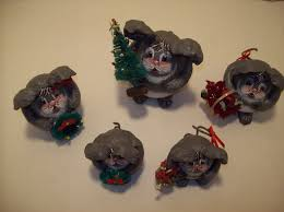 5 papier mache christmas mice handmade christmas display