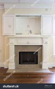 fireplace open wall cabinet flatscreen tv stock photo 3232495