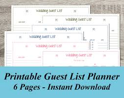 Wedding Invitation Excel Template Instant Wedding Guest List Pdf Wedding Planning 6