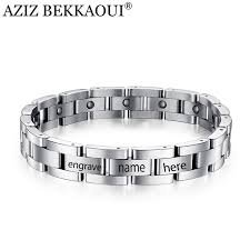titanium bracelet men images Aziz bekkaoui magnetic bracelet men titanium steel bangle 21 23cm jpg