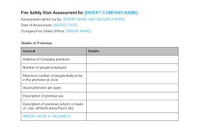 assessment templates fire safety risk assessment template bizorb