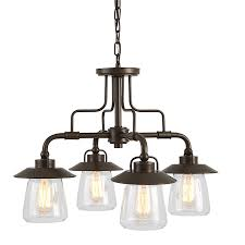 4 Light Ceiling Fixture Shop Allen Roth Bristow 24 02 In 4 Light Mission Bronze Rustic