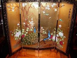 asian screen room divider with 2 peacock paint decolover net
