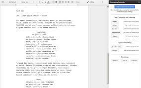 screenplay formatter google docs add on