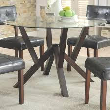 coaster 105850 beaux round glass top dining table in cappuccino finish